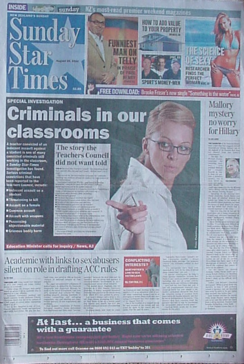 Sunday Star-Times 29th August 2010 cover
